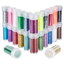 24 Colors Body Glitter for Rave Festival, LEOBRO 24 Jars Cruelty-Free Extra Fine Glitter, Makeup Glitter for Body Face Eye Nail Hair Slime