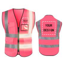 High Visibility Safety Vest Custom Your Logo Protective Workwear 5 Pockets With Reflective Strips Outdoor Work Vest (Pink (S))