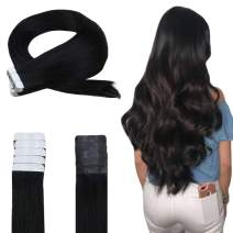 [Sale] Easyouth Tape in Extensions Real Human Hair -Sold Color Jet Black Hair Extensions, Tape in Extensions Easy to Install for Daily Use Tape on Hair Extensions