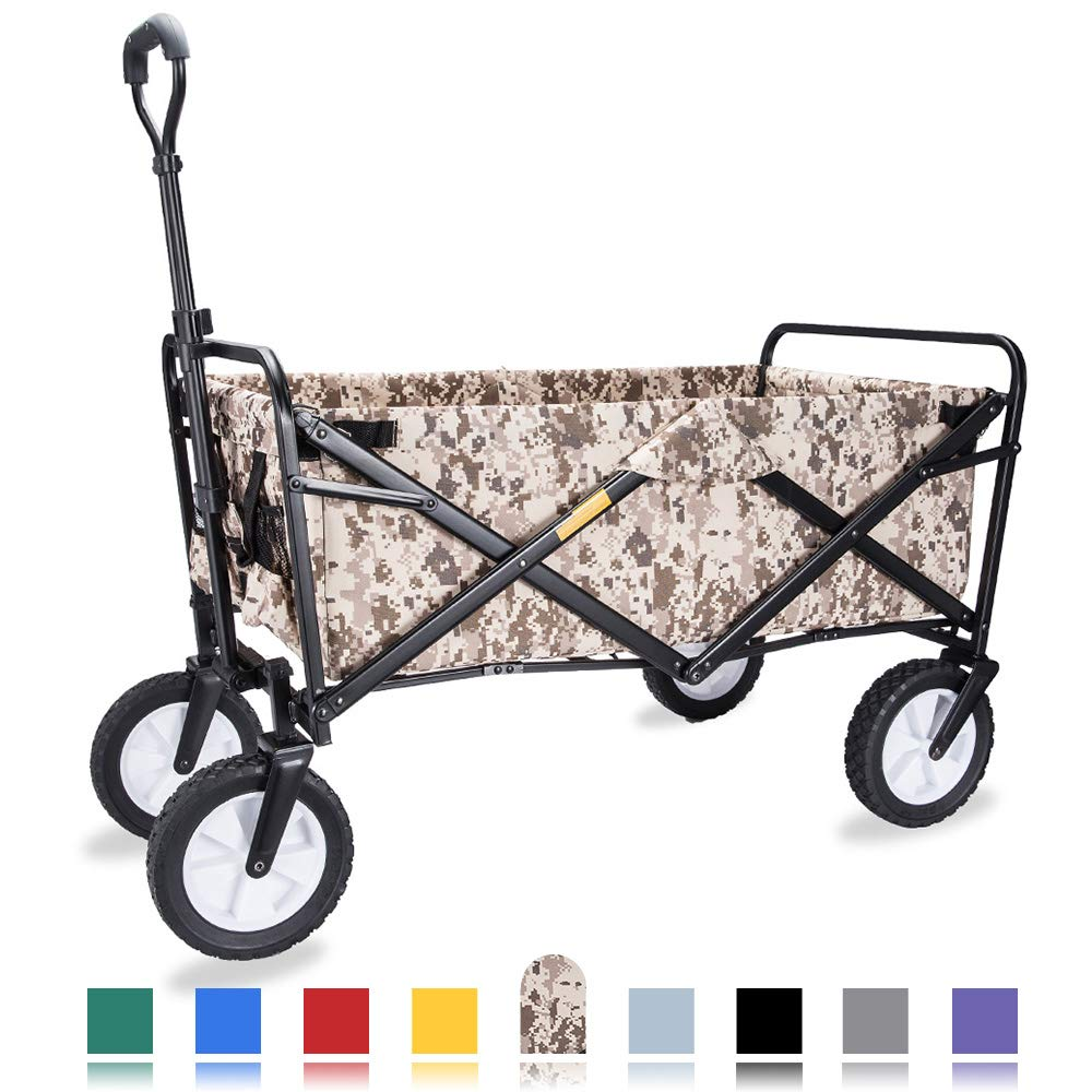 """WHITSUNDAY Collapsible Folding Garden Outdoor Park Utility Wagon Picnic Camping Cart with Replaceable Cover (Standard Size 8"""" Wheels with Rear Storage, Decamo)"""