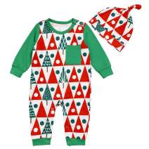 Newborn Toddler Baby Boy Christmas One-Piece Jumpsuit Christmas Tree Printing Long Sleeve Snap Romper + Print Hat Outfit Set
