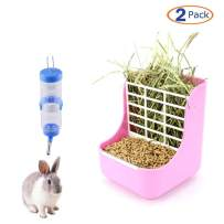 Rabbit Hay Feeders Rack,Bunny Water Bottles Dispenser, 2 in 1 Feeder Bowls Double for Grass/Food for Small Animal Supplies Rabbit Chinchillas Guinea Pig Hamsters