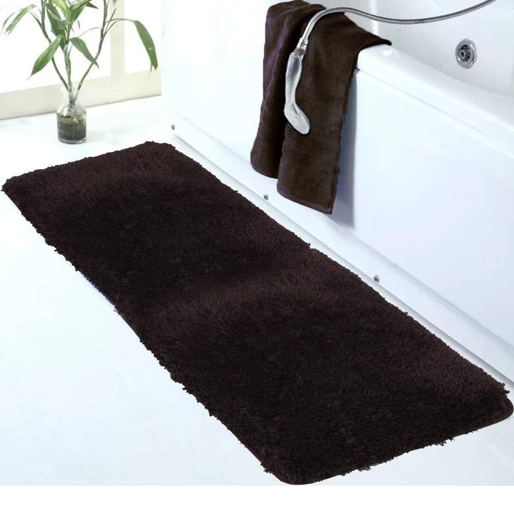 Walensee Large Bathroom Rug (24 x 60, Brown) Extra Soft and Absorbent Shaggy Bathroom Mat Machine Washable Microfiber Bath Mat for Bathroom, Non Slip Bath Mat, Luxury Bathroom Floor Mats