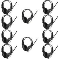 Retekess TR101 Headphones Radio FM Testing Headphones for Classroom Testing Mental Hospital and Tour Guide Wireless Receiver (10 Pack,Black)