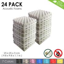 Arrowzoom New 24 Pack of (9.8 in X 9.8 in X 1.1 in) Convoluted Foam Soundproofing Insulation Egg Crate Acoustic Wall Padding Studio Foam Tiles (Gray)