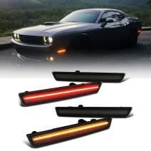 Amber Red LED Side Marker Light for Dodge Challenger 2015-2020 Smoke Lens Led Side Marker Lights Front & Rear Sit Car Led Side Marker Lamp Kit