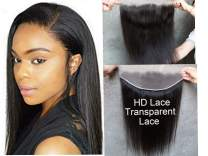 DATANG 10A HD Transparent 13x4 Silky Straight Full Lace Frontal Closure Ear To Ear Free Part Brazilian Remy Virgin Human Hair Bleached Knots With Baby Hair (10 Inch)