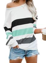 ReachMe Womens Striped Off Shoulder Sweatshirt Color Block Long Sleeve Slouchy Shirt Oversized Batwing Tops