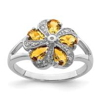 925 Sterling Silver Yellow Citrine Diamond Band Ring Stone Flowers/leaf Gemstone Fine Mothers Day Jewelry For Women Gifts For Her
