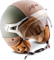 SOXON NTNK N325 Urban Green · Open-Face-Helmet · Motorcycle Half-Face Jet Pilot Motor-Bike Scooter Biker Retro Chopper Cruiser Vintage Bobber Vintage · DOT Approved · Leather-Design XS–XL