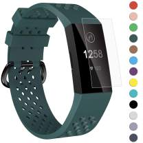 Velavior Breathable Bands for Fitbit Charge 4/ Fitbit Charge 3/ Charge3 SE, Waterproof Silicone Sports Band with Air Holes, Adjustable Replacement Wristbands for Women Men Small Large