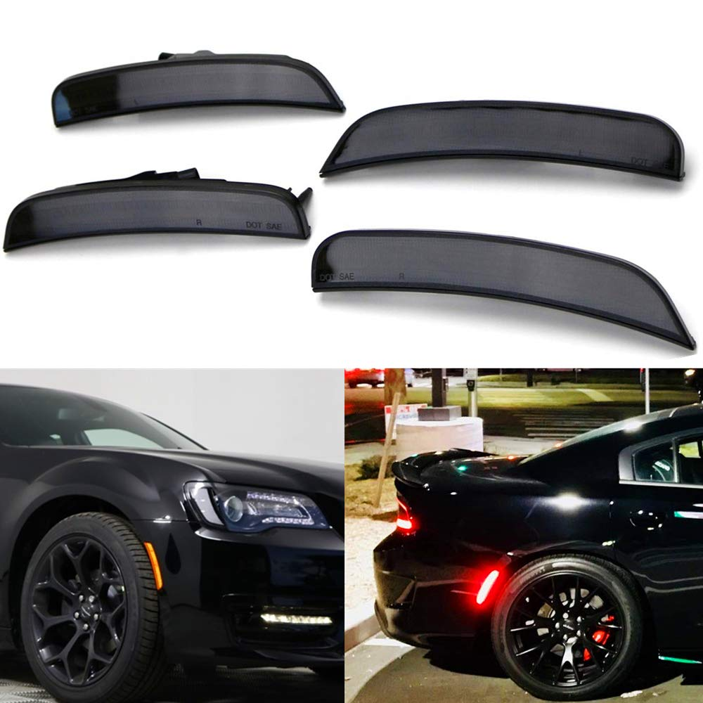 Amber Red LED Side Marker Light for Chrysler 300 2015 2016 2017 2018 Smoke Lens Led Side Marker Lights Front & Rear Sit Car Led Side Marker Lamp Kit