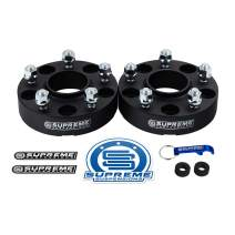 "Supreme Suspensions - 2pc 1"" Hub Centric Wheel Spacers for 2015-2019 Jeep Renegade 2WD 4WD 5x110mm BP with M12x1.25 Studs 65.1mm Center Bore w/Lip [Black]"