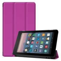 Fire 7 (2019) Case, fire 7 (2017) Case, DETUOSI-【Auto Sleep/Wake】 Ultra Slim Smart Folio PU Leather Universal Cover Case for Amazon Kindle Fire 7 [2019/2017, 9th/ 7th Generation],Purple