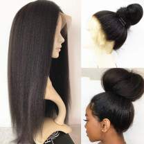 Kinky Straight Glueless Full Lace Human Hair Wigs With Baby Hair 150% Density Natural Black Brazilian Virgin Remy Hair Pre Plucked Full Lace Wigs For Black Women 16inch