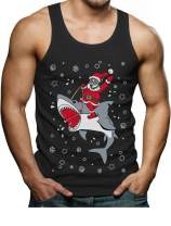 Tstars - Santa Riding On a Shark Ugly Christmas Holiday Men's Tank Top