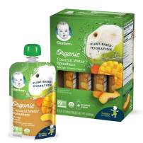 Gerber Organic Coconut Water Splashers, Mango Peach Carrot, 3.5 Ounces (Pack of 16)