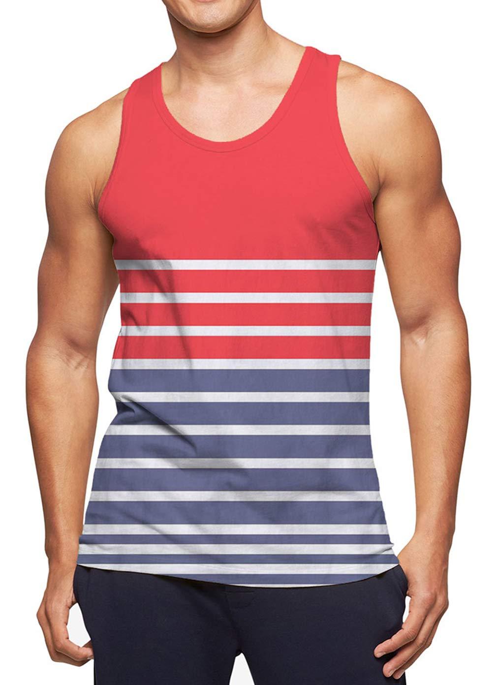 RAISEVERN Men's Tank Tops Summer Sleeveless Tee Cool Workout T-Shirts Fitness Vest Athletic Undershirts