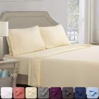 Abakan King Bed Sheet Set 4 Piece Super Soft Brushed Microfiber 1800TC Hotel Luxury Premium Cooling Sheet Breathable, Wrinkle, Fade Resistant Deep Pocket Bedding Sheet Set (King, Ivory)