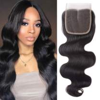 """MeiQin 18"""" Brazilian Body Wave 4x4 Lace Closure Middle Part 8A Brazilian Virgin Human Hair 130% Density Closure with Baby Hair Unprocessed Human Hair Natural Color …"""
