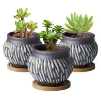 Cute Succulent Planter Ceramic Planter Succulent Pots Flower Pot Indoor and Outdoor Planter Pot for Succulent Cactus Plant Pot for Cactus Drainage with Bamboo Tray 3 Pack