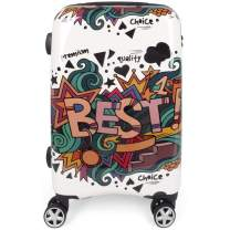 NEWCOM Suitcase 24 Inch Luggage Spinner Wheels ABS+PC Hard Shell Graffiti Cartoon Printed TSA Lock for Youth