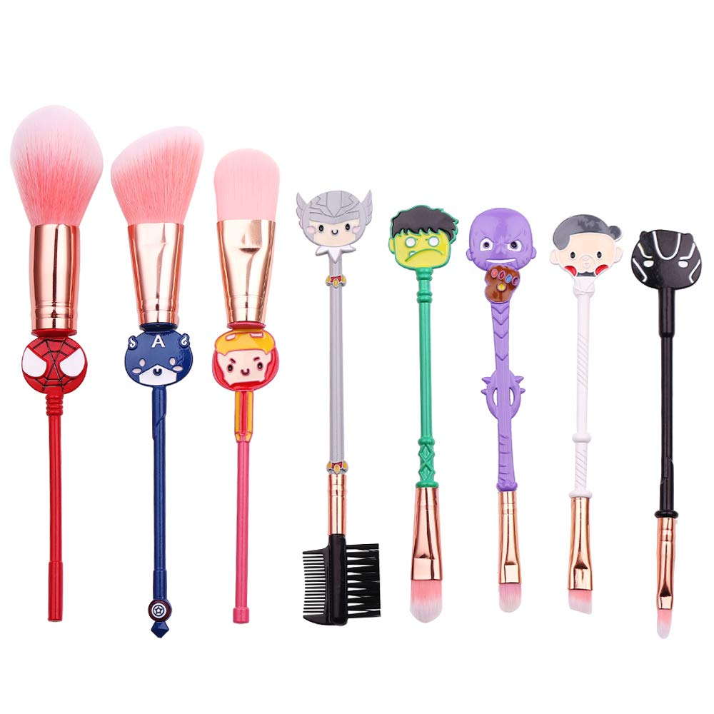 8Pcs Profession Avengers Makeup Brushes - Avengers Professional Cosmetic Brushes Foundation Blending Blush Eye Shadows Face Powder Fan Brushes Kit Perfect Gift for Marvel Fans (8pcs)