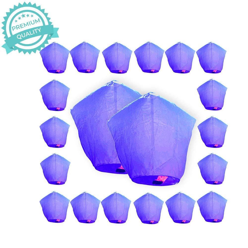 Just Artifacts Premium Quality ECO Wire-Free Flying Chinese Sky Lanterns (Set of 20, Diamond, Purple) - Topnotch Flight, Biodegradable, Environmentally Friendly Lanterns!