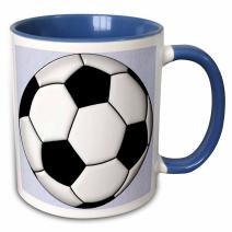 "3dRose mug_50318_6""Soccer Ball Champ"" Two Tone Blue Mug, 11 oz, Multicolor"