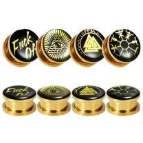 TBOSEN 8 Pcs Stainless Steel Gold Epoxy Screw Fit Ear Gauges Ear Plug Flesh Piercing Jewelry 2g - 1-3/16 inch