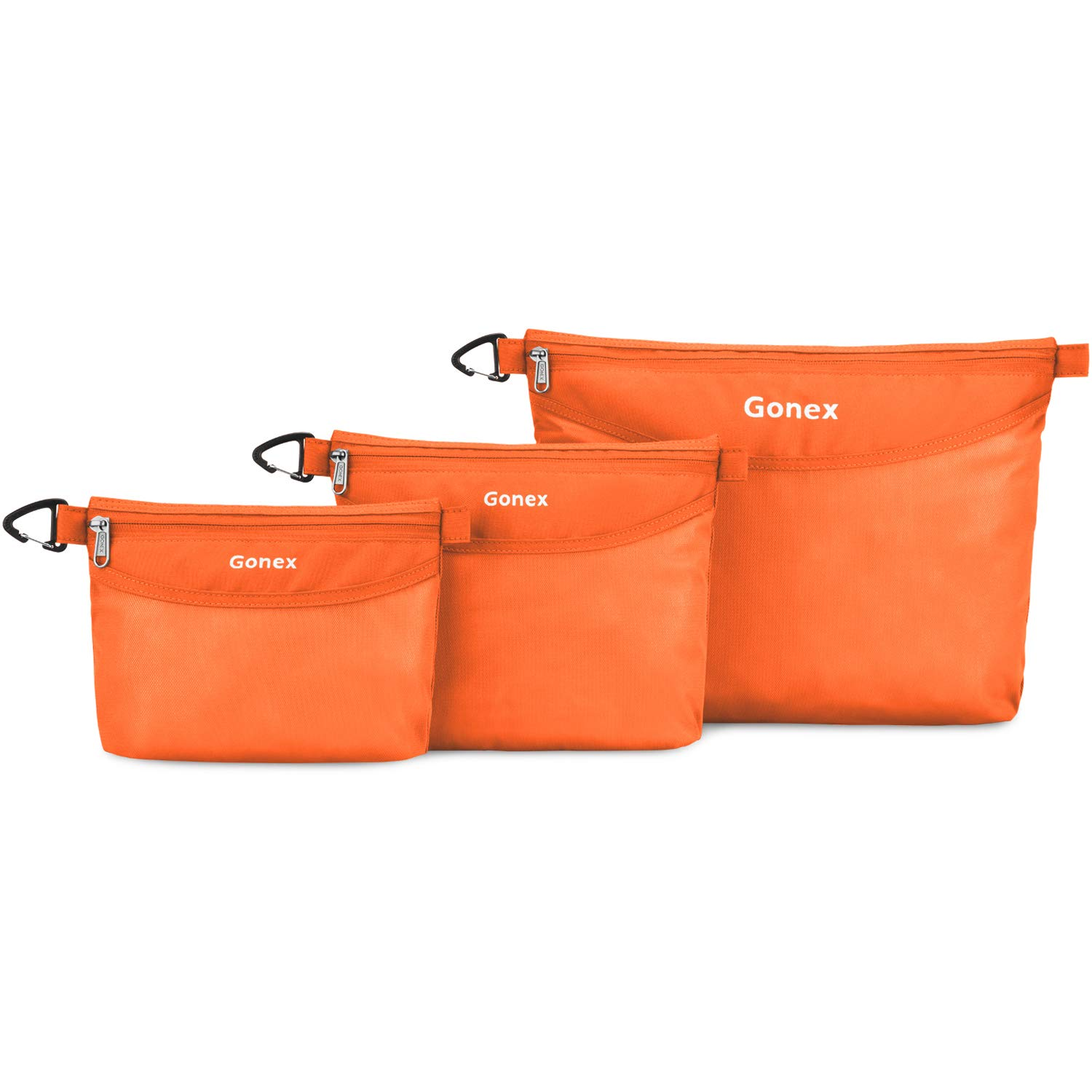 Gonex Travel Packing Toiletry Pouches with Zippers Water-resistant Packing Bag Organizer 3 Sets-Large, Medium& Small for Travel, Office, Outdoor, Art Orange