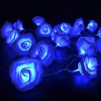FULLBELL Fairy String Lights Blue Rose Flower 20 LED Battery Operated Decorative Light for Wedding Valentine's Day Dreamlike Party Girl's Bedroom
