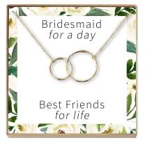 Dear Ava Bridesmaid Gift Necklace: Maid of Honor Proposal, Bridal Jewelry, 2 Interlocking Circles