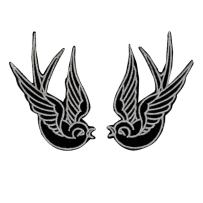 Set of 2 Black Swallow Patch Bird Tattoo Sparrow Embroidered Iron On Applique