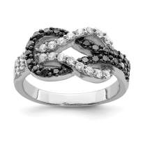 925 Sterling Silver Black Clear Cubic Zirconia Cz Love Knot Band Ring S/love Fine Jewelry For Women Gift Set