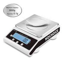Hochoice Accuracy:0.1g Laboratory Digital Analytical Balance High-Precision Electronic Scales Industrial Scale Jewelry Scales Strain Sensor Square pan (MAX Capacity:3000g, Accuracy:0.1g)
