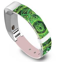Band for Fitbit Alta - Leather Strap Replacement Compatible for Fitbit Alta/Alta HR Small & Large - Green Floral Pattern
