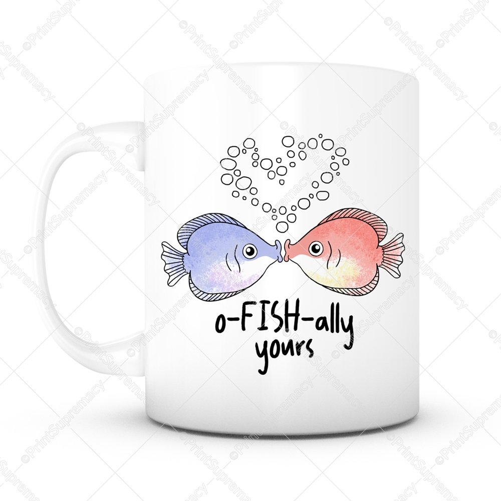 Funny Mug O-Fish-Ally Yours -Officially Yours 11 oz Lead Free Ceramic Coffee Mug Tea Cup White- Valentines day, Wedding, Anniversary, Birthday Gift Mug Christmas Gift for Women/Men/Him/Her/Friends