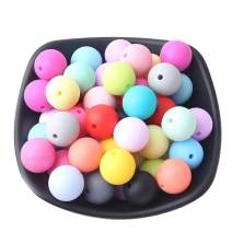 Promise Babe Silicone Teething Beads 50pcs 15mm Round Loose Organic Nursing Jewelry Chewable Colorful DIY Balls Baby Accessories