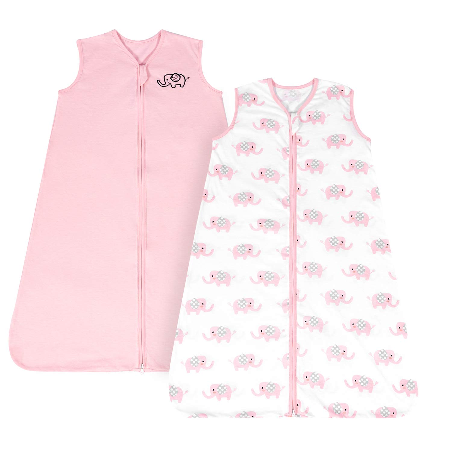 TILLYOU X-Large XL Breathable Cotton Baby Wearable Blanket with 2-Way Zipper, Super Soft Lightweight 2-Pack Sleeveless Sleep Bag Sack for Boys, Fits Infants Newborns Age 18-24 Months, Pink Elephant