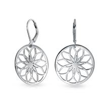 Round Circle Disc Cutout Flower Leverback Dangle Earrings For Women 925 Sterling Silver