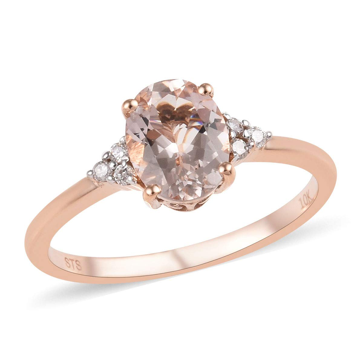 10K Rose Gold Rhodium Plated Premium Morganite Diamond Ring Jewelry for Women Ct 1.4 G-H Color I3