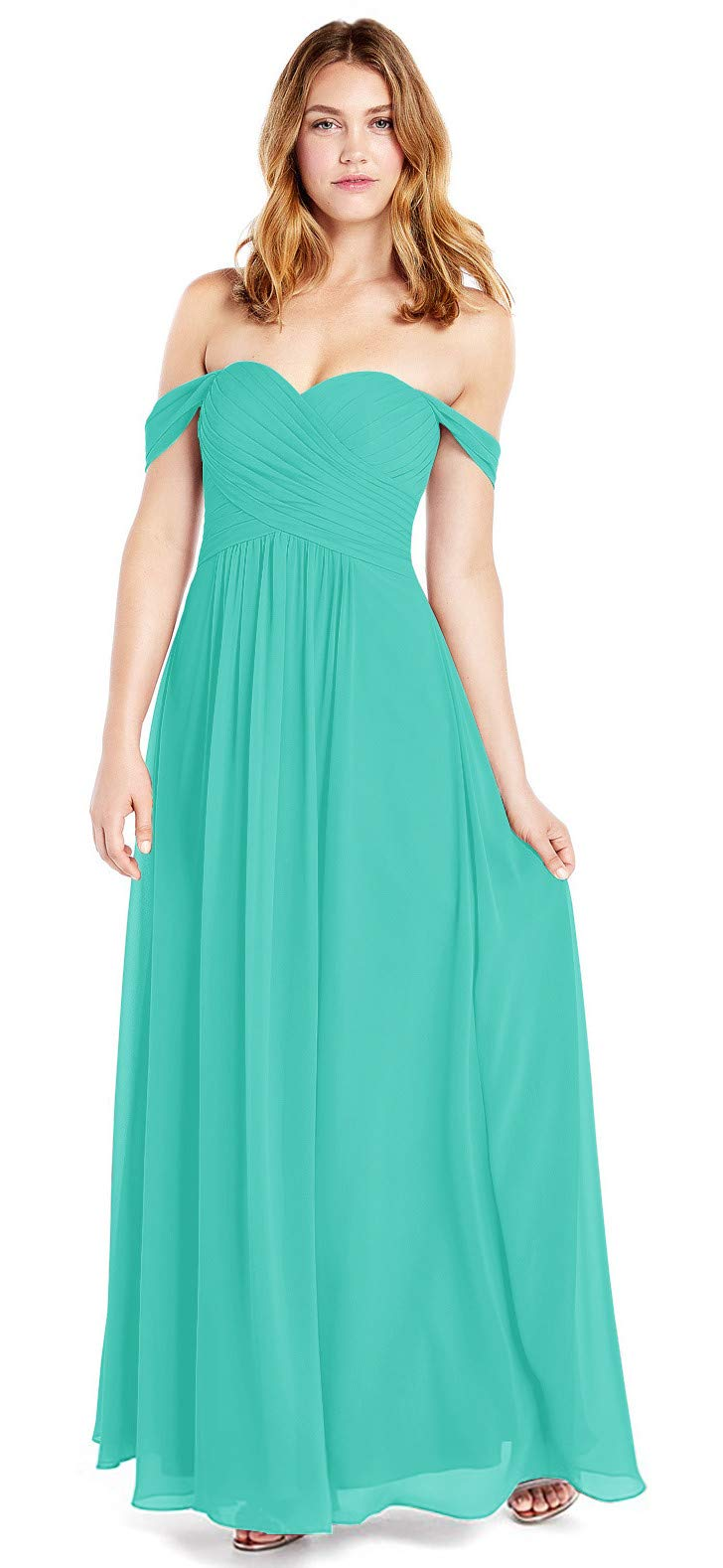 YUSHENGSM Women's A Line Ruched Chiffon Off The Shoulder Bridesmaid Dresses Long Formal Evening Maxi Dress