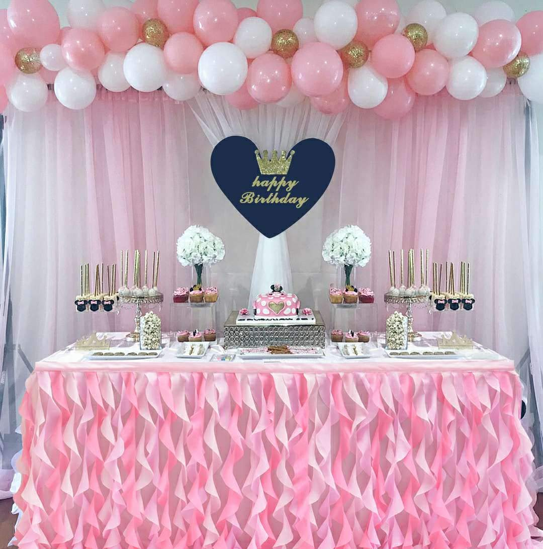 6ft Curly Willow Pink Table Skirt Lace Taffeta Table Skirting Tutu Tulle Table Skirt for Round or Rectangle Table for Birthday, Wedding, Party Decoration Supplies(L72in×H30in)