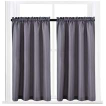"""Valea Home Waffle Weave Textured Half Window Tier Curtains for Kitchen Water Repellent Window Covering Bathroom Short Curtains, 72"""" x 45"""", Grey, Set of 2"""