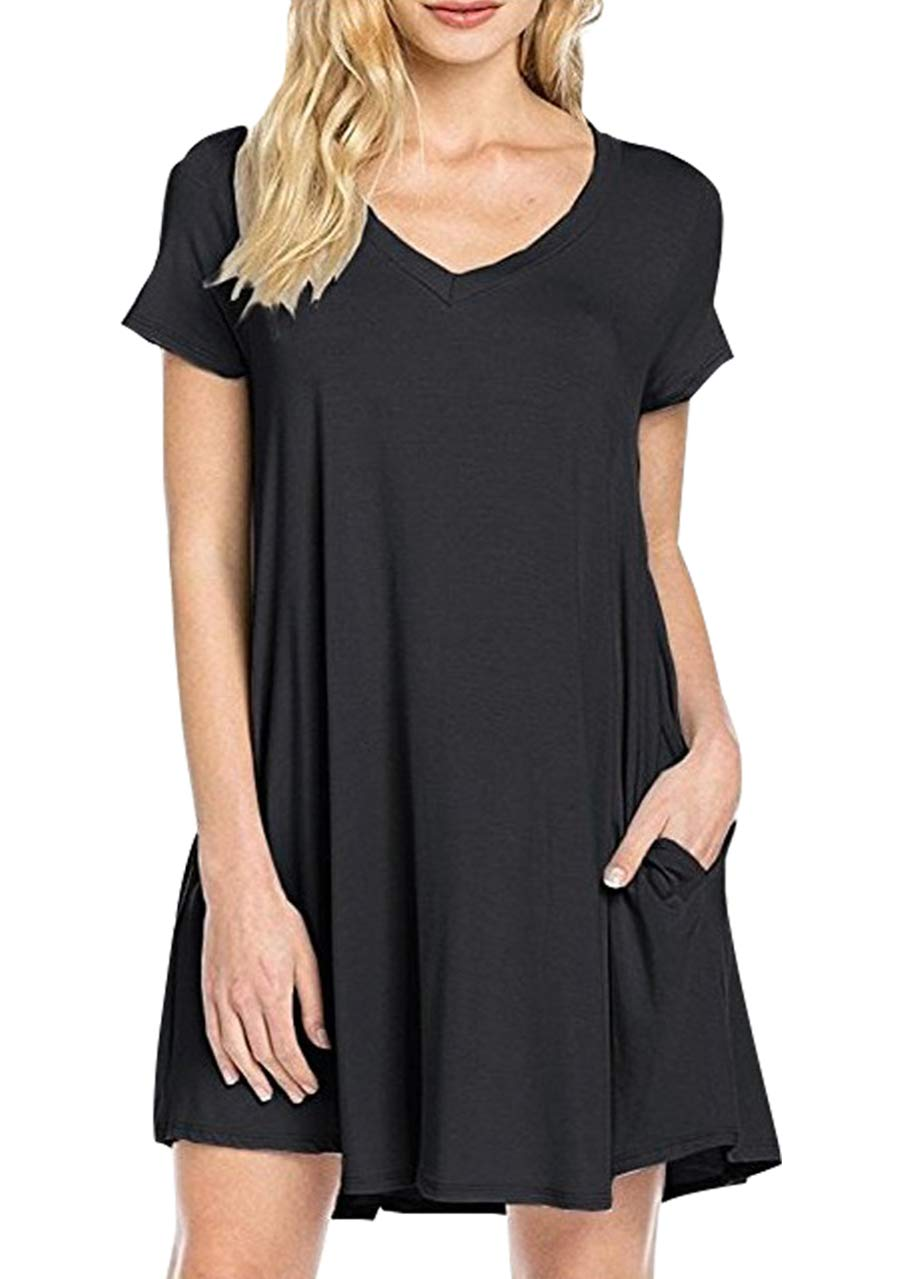 OMZIN Women's V-Neck Dress Swing Loose Flowy Casual Tunic Shirt Dress