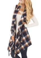 Womens Plaid Cardigan Vests Drape Shawl Kimono Hooded Sleeveless Fringe Coat Jacket with Tassels