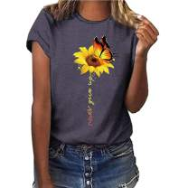 LaSuiveur Women's Short Sleeve Sunflower Crewneck T-Shirt Tops Tees