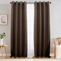 jinchan Linen Texture Curtains Light Reducing Grommet Top Drapes for Bedroom Living Room Window 2 Panels 90 Inches Length Brown