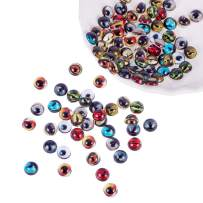 PH PandaHall 100pcs 8mm Round Animal Evil Eyes Flatback Glass Dome Cabochons Gems for Halloween Cameo Pendant Jewelry Making Handcrafts Scrapbooking
